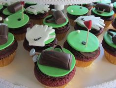 Golf bags, mitts and putting green. Red velvet cupcakes with whipped chocolate ganache. Golf Cupcakes, Whipped Chocolate Ganache, Red Velvet Cupcakes, Golf Bags, Baking, Green, Desserts, Food, Tailgate Desserts