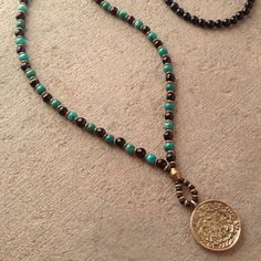 Onyx and Turquoise beaded necklace with Tibetan pendant, 108 bead mala – Lovepray jewelry  #lovepray #jewelry #men