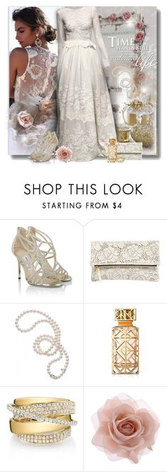 """Beautiful gown"" by perla57 ❤ liked on Polyvore featuring Lurelly, LUISA BECCARIA, Jimmy Choo, Clare V., Mikimoto, Tory Burch, Shay and Accessorize"