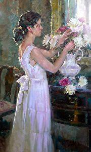 Elrendezése virágok John Michael Carter olaj ~ 24 x 18