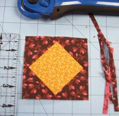 square in square tutorial. It also has a chart to figure out the size of your pieces based on your desired  finished quilt block size.