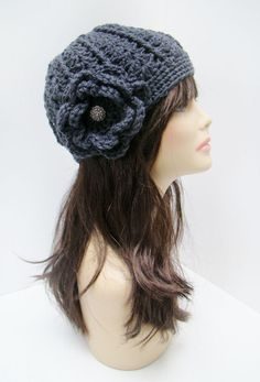 Crochet Flower Fitted Hat - Charcoal Gray with Silver Vintage Button - FREE SHIPPING. $30.00, via Etsy.