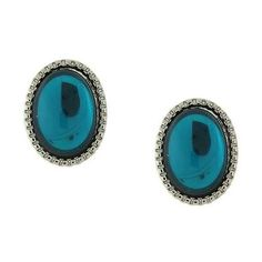 1928 Silver-Tone Blue Oval Button Earrings (€7,65) ❤ liked on Polyvore featuring jewelry, earrings, silver tone earrings, silvertone earrings, nickel free earrings, silvertone jewelry and silver tone jewelry
