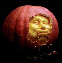 Ate My Way Out Pumpkin Sculpture/Carving by Ray Villafane