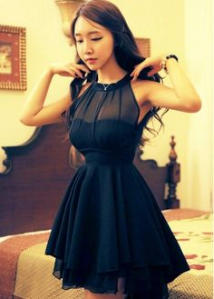 A Line Sleeveless Black Skater Dress for Woman with cheap wholesale price, buy A Line Sleeveless Black Skater Dress for Woman at wholesaleitonline.com !