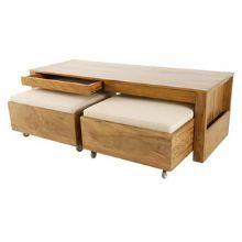 Comprar mesa de centro com pufes e revisteiro :: Velha Bahia - Loja online móveis e objetos de decoração