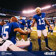 @iam_objxiii shows Tavarres King some love after his 59 yard touchdown! #NEvsNYG 📸 cred: @danszpakowski