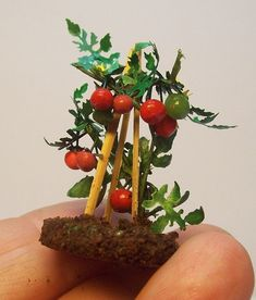 For your #miniature garden, it's a tomato plant complete with garden stakes dirt. Fairy garden