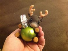 OOAK Polymer clay hand made baby Reindeer Christmas Ornament 2014 on x-mas ball