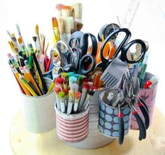 Tin Can Caddy Tutorial from Cynthia Shaffer. And on a lazy Susan…Oh my, it doesn't get any better.