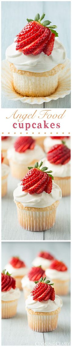 The cupcakes of heaven. Angel Food Cupcakes with Cream Cheese Whipped Cream Frosting - one of the most heavenly cupcakes you'll ever make! Seriously fluffy and so dreamy! Angel Food Cupcakes, Yummy Cupcakes, Cupcake Cakes, Cup Cakes, Strawberry Cupcakes, Almond Cupcakes, Angel Food Cake, Cupcake Recipes, Baking Recipes