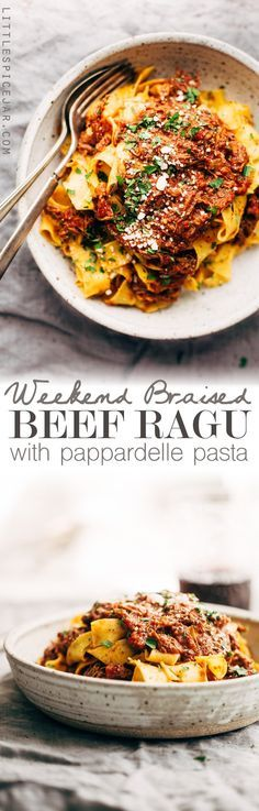 Pasta: Weekend Braised Beef Ragu with Pappardalle - A simple beef ragu that's so simmered on the stove top or in a crockpot all day long. Slow Cooker Recipes, Beef Recipes, Cooking Recipes, Healthy Recipes, Recipies, Locarb Recipes, Beef Tips, Cooking Games, Slow Cooker Beef