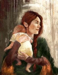 """wisesnail: """"Nerdanel (with baby Maedhros) Speed Paint I know, her hair is too red - I've remembered too late that she is supposed to have brownish hair… orz Also, she's holding baby!Maedhros, because I've realised that I, most unexpectedly, really..."""