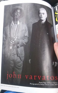 This John Varvatos advert featuring Jimmy Page of Led Zeppelin and Gary Clark Jr. appears in the current issue of GQ Magazine
