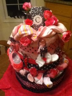 Diaper cake for Brittany's baby shower, C for Cordelia