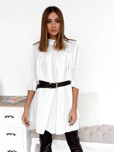 Μπλούζα Διαφάνεια Με Ζώνη Λευκή - Day Like This Days Like This, Shirt Dress, Blouse, Long Sleeve, Sleeves, Shirts, Tops, Dresses, Women