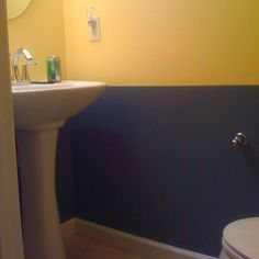 Navy Blue Yellow Bathroom