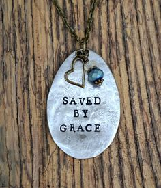 Saved By Grace Vintage Spoon Necklace Hand Stamped Jewelry