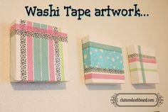 DIY Canvas & Washi Tape - Instant Artwork... @ClutteredCorkboard.com