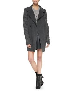 Sweater-Sleeve Felt Coat, Ribbed-Knit Button-Front Cardigan & A-Line Leather Miniskirt by Vince at Neiman Marcus.