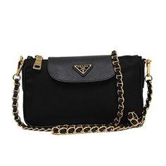 f2fc0f8a6ffc Prada Tessuto Saffiano Nylon Leather Black Chain Handle Crossbody Shoulder  Bag BT0779 1BH779
