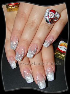 Christmas themed nails. This would be pretty with jewel tones and silver too.
