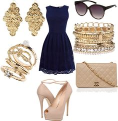 """""""blue & gold."""" by sofieev on Polyvore"""