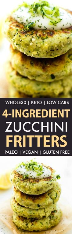 4-Ingredient Zucchini Fritters (Whole30, Keto, Paleo, Vegan, Gluten Free)- Easy veggie fritters packed with cauliflower rice and whole30 approved lunch, dinner or snack! #whole30 #whole30approved #whole30dinner #keto #lowcarb #vegan #paleo