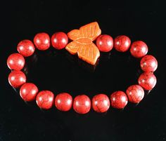 Z464 Howlite Turquoise Orange Butterfly Red Ball Beads Stretch Bracelet
