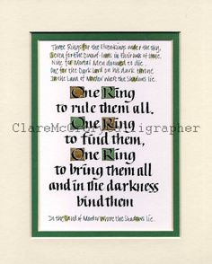 """Lord of the Rings One Ring To Rule Them All 8 x 10"""" Print, Tolkein Text Print, Fantasy Word Art"""