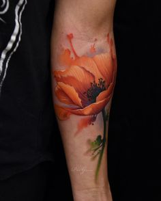 Had fun stepping out of my style to tattoo this orange poppy. Thanks Angie! Follow my new shop page…