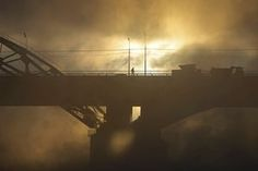 Moscow, Russia: A man walks on a bridge