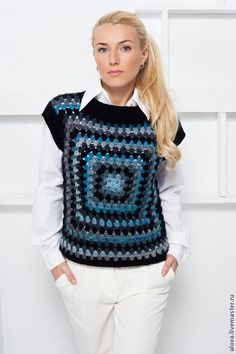 Granny Square crocheted vest knitted vest for women fashion trend new fashion season sweater . Granny Square crocheted vest knitted vest for women fashion trend new fashion season sweater female Crochet Poncho, Crochet Cardigan, Crochet Granny, Knit Crochet, Crochet Woman, Knit Vest, Crochet Squares, Fashion Seasons, Crochet Clothes