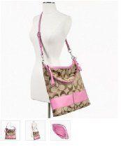 Coach Signature Stripe Convertible Shoulder Bag Crossbody Handbag Purse 23770 Khaki Pink  From Coach  Price:$199.00  #coach