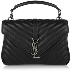 Saint Laurent College medium quilted leather shoulder bag ($2,145) ❤ liked on Polyvore featuring bags, handbags, shoulder bags, shoulder bag handbag, yves saint laurent purses, quilted leather shoulder bag, shoulder handbags and shoulder hand bags