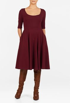 I <3 this Cotton knit fit-and-flare dress from eShakti