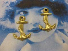 Raw Brass Anchor Charms 996RAW x2 by dimestoreemporium on Etsy
