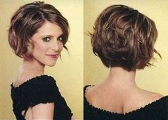 Stacked Curly Bob Haircut: Short Hairstyles for Women I'd need to figure out how to get some volume to pull this off.