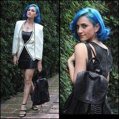 Kalinda Kano - Nasty Gal Jacket, Guess? Dress, Free People Heels, Gala Is Love Backpack - About last night.