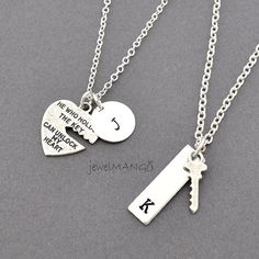 key to my heart COUPLE necklace mr. mrs.hand by JewelMango on Etsy, $36.00