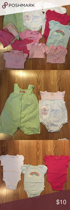 """3-6 & 3-9 months Baby Girl Clothes Gymboree green/white stripe overalls, First Moments polka dot Onsie, blue GAP Onsie, 2ea-pink & white Old Navy Onsies, light pink GAP pants, pink Old Navy pants, 3ea- Gerber onsies (""""Daddy's Little Angel"""" has a small stain by neckline, I am a sweetie pie, pink stripe), 3-9 months- 2ea- Gerber onsies (""""I love you"""" & pink princess stripe theme). I have inspected these and have not noticed any visible stains aside from that shown, however, there may be…"""