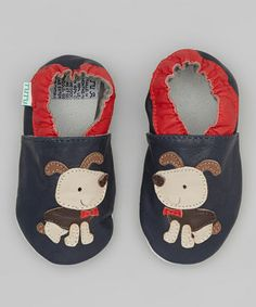 Take a look at this Red & Navy Dog Leather Booties by Tutu AND Lulu on #zulily today!