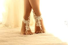 Barefoot Sandals french lace Nude shoes by byPassion Bridal Lace, Lace Wedding, Wedding Dresses, Foot Jewelry Wedding, Bridesmaid Gifts, Bridesmaids, Nude Shoes, Victorian Lace, Beach Shoes