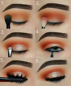 Makeup Tutorial: Orange and Gold Glam Eye Make-up Step for .- Makeup-Tutorial: Orange und Gold Glam Eye Make-up Schritt für Schritt Tutorial Makeup Tutorial: Orange and Gold Glam Eye Makeup Step by Step Tutorial, …, up - Makeup Eye Looks, Eye Makeup Steps, Cute Makeup, Beauty Makeup, Huda Beauty, Beauty Tips, Drugstore Beauty, How To Makeup Eyes, Perfect Makeup