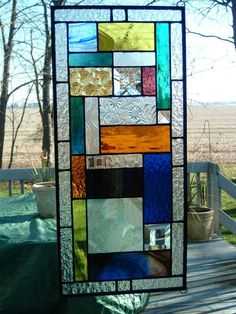 Stained Glass Prairie Art Glass Window Hanging Abstract Geometric Beveled Panel Sun Catcher Stained Glass Transom