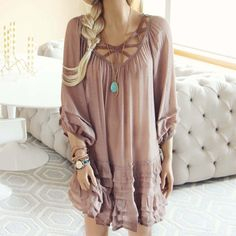 Festival Dress in Sand... a gorgeous boho dress for the spring & summer.:
