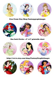 """Free Printable Collage Sheets: Free Bottle Cap - 1"""" Circle Collage Sheets from Etsy store Fantasygraphicimages"""