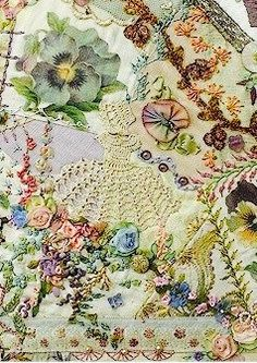 69 Ideas For Embroidery Ribbon Dress Crazy Quilting Crazy Quilting, Crazy Quilt Stitches, Crazy Quilt Blocks, Cross Stitches, Silk Ribbon Embroidery, Embroidery Stitches, Hand Embroidery, Embroidery Designs, Sewing Art