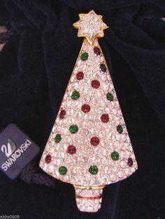 Signed Swan Swarovski Christmas Tree Brooch PIn RARE