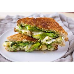 Grown-up grilled cheese FTW! Asparagus and Brie grilled cheese with arugula pesto is on the blog.
